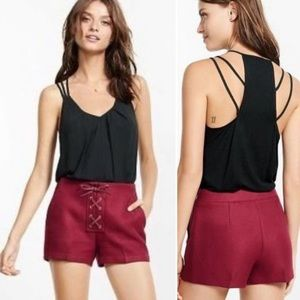 Express Berry Lace Up Twill Shorts